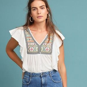 Anthropologie Ranna GILL Embroidered Clare Top
